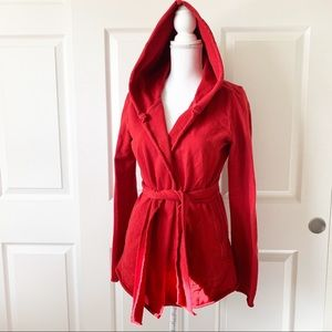 ☘️ Lucky Brand • Red Hooded Jacket Belt Tie